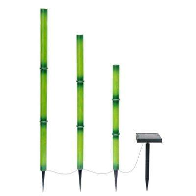 Solar Green Integrated LED Bamboo Stick Lights with Solar Panel (3-Pack)