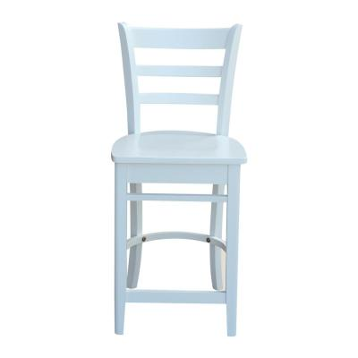 24 in. Emily Pure White Counter Stool