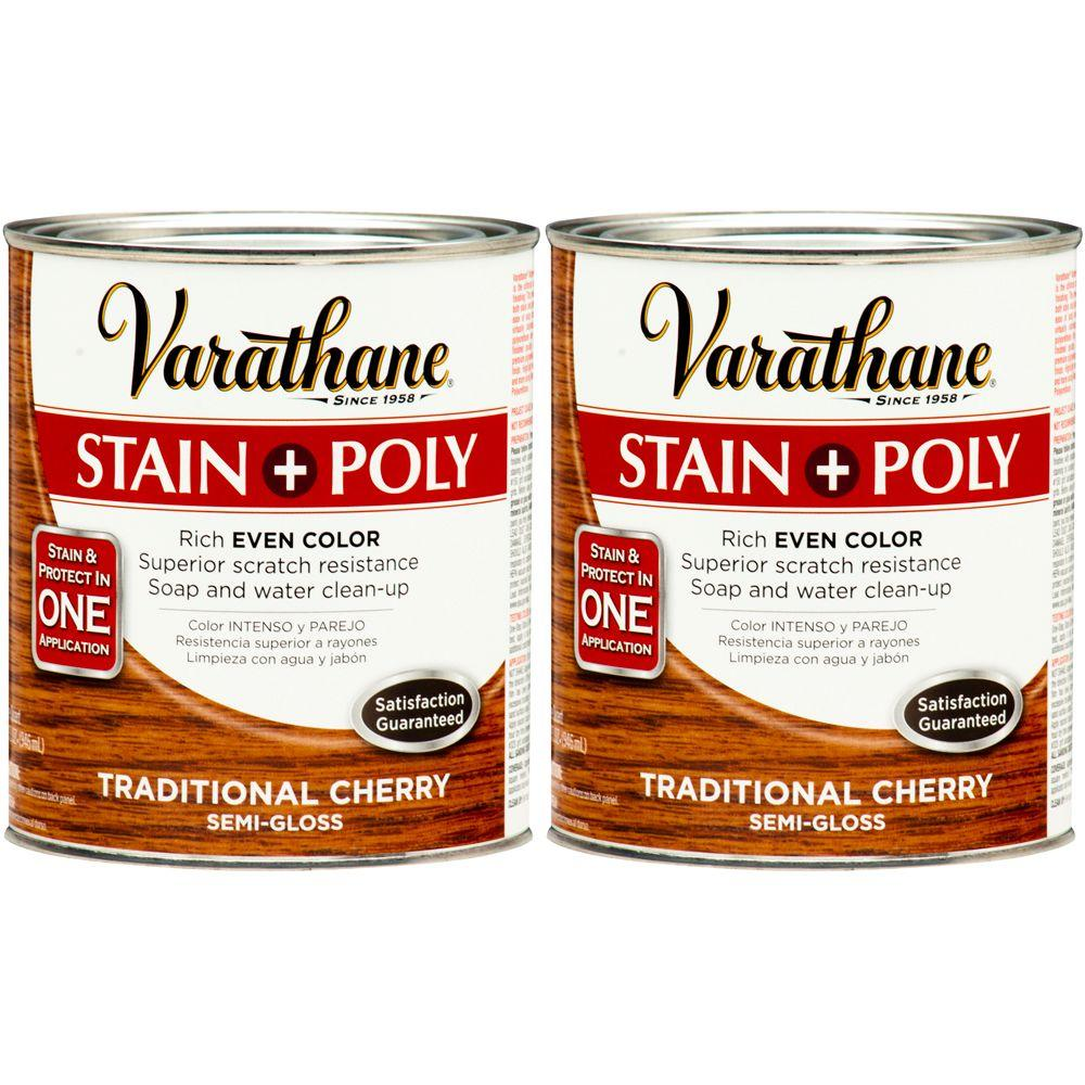 Varathane 1 Qt. Traditional Cherry Wood Stain and Polyurethane (2-Pack)-DISCONTINUED