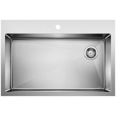 QUATRUS Dual Mount Stainless Steel 33 in. x 22 in. 1-Hole Single Bowl Kitchen Sink in Satin Polished