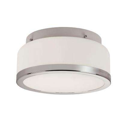1-Light Polished Chrome Flushmount with Frosted Glass