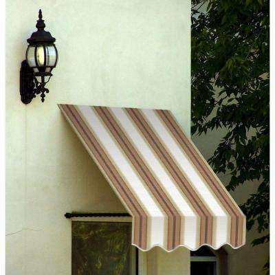 3 ft. Santa Fe Twisted Rope Arm Window Awning (31 in. H x 12 in. D) in White/Linen/Terra cotta