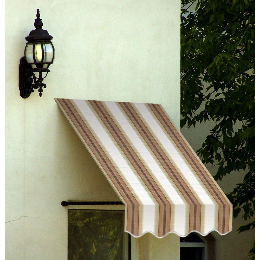 AWNTECH 5 ft. Santa Fe Twisted Rope Arm Window Awning (24 in. H x 12 in. D) in White/Linen/Terra cotta
