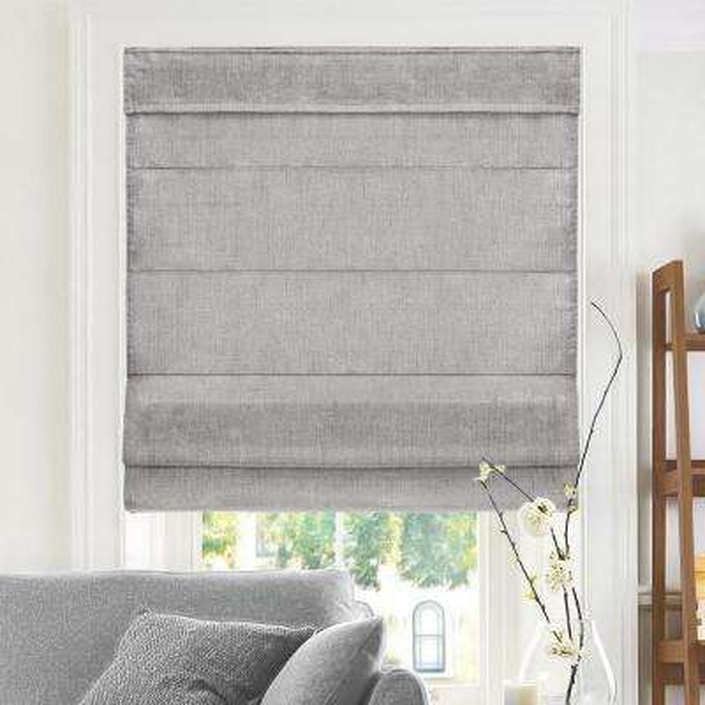 Cut-to-Width Denim Cordless Fabric Roman Shade - 35 in. W x 64 in. L