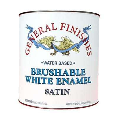 1 gal. Satin Interior Wood Brushable White Enamel