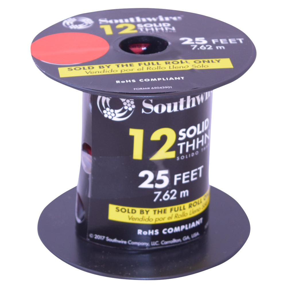 Southwire 25 ft. 12 Red Solid CU THHN Wire