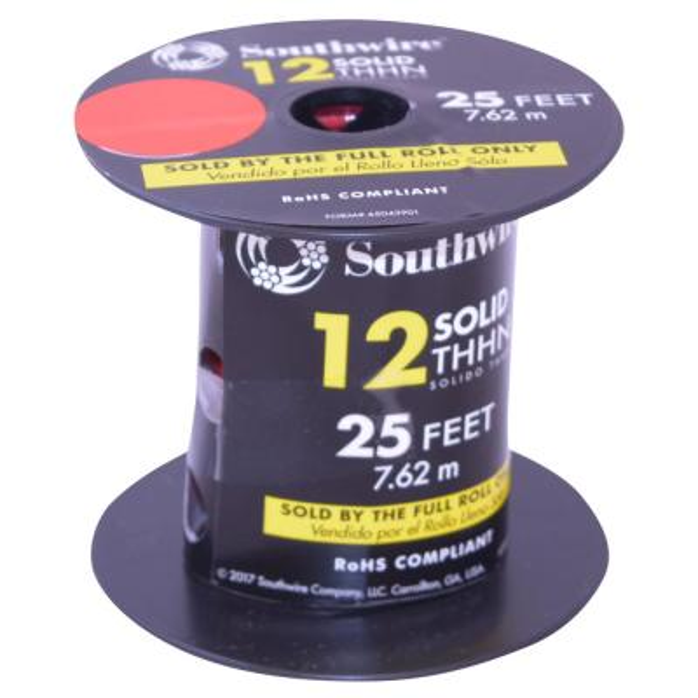 25 feet 12 Ga White General Purpose Wire - GPT
