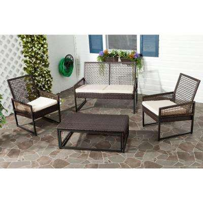 Shawmont Brown 4-Piece Patio Seating Set with Beige Cushions