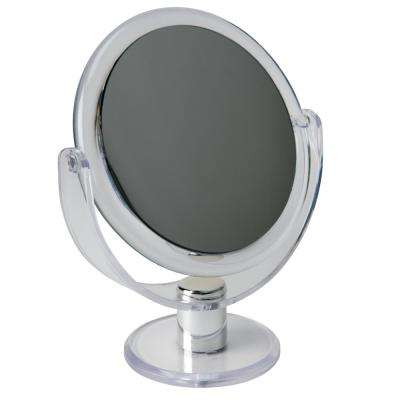 Dual Sided 10X Magnification 7 in. Rubberized Vanity Mirror in Clear
