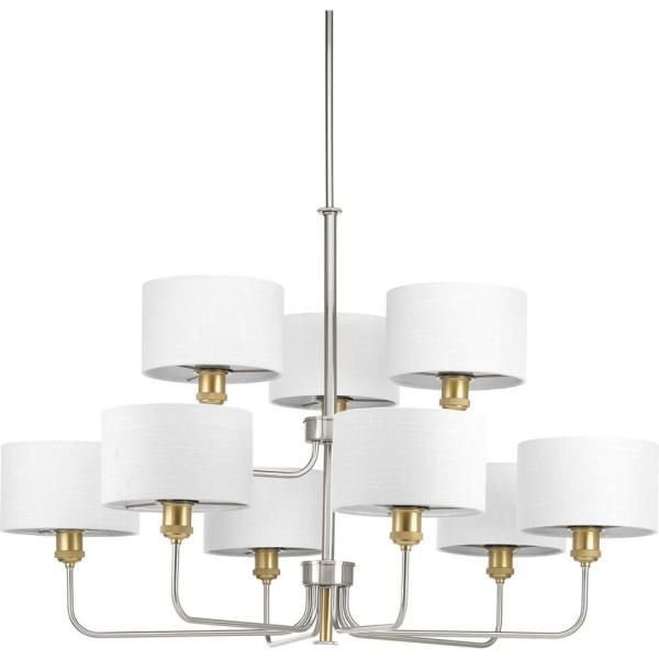 Cordin Collection 9-Light Brushed Nickel Chandelier with Shade