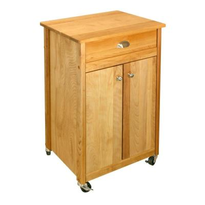 Promo Birch Natural Wood Kitchen Cart with Storage