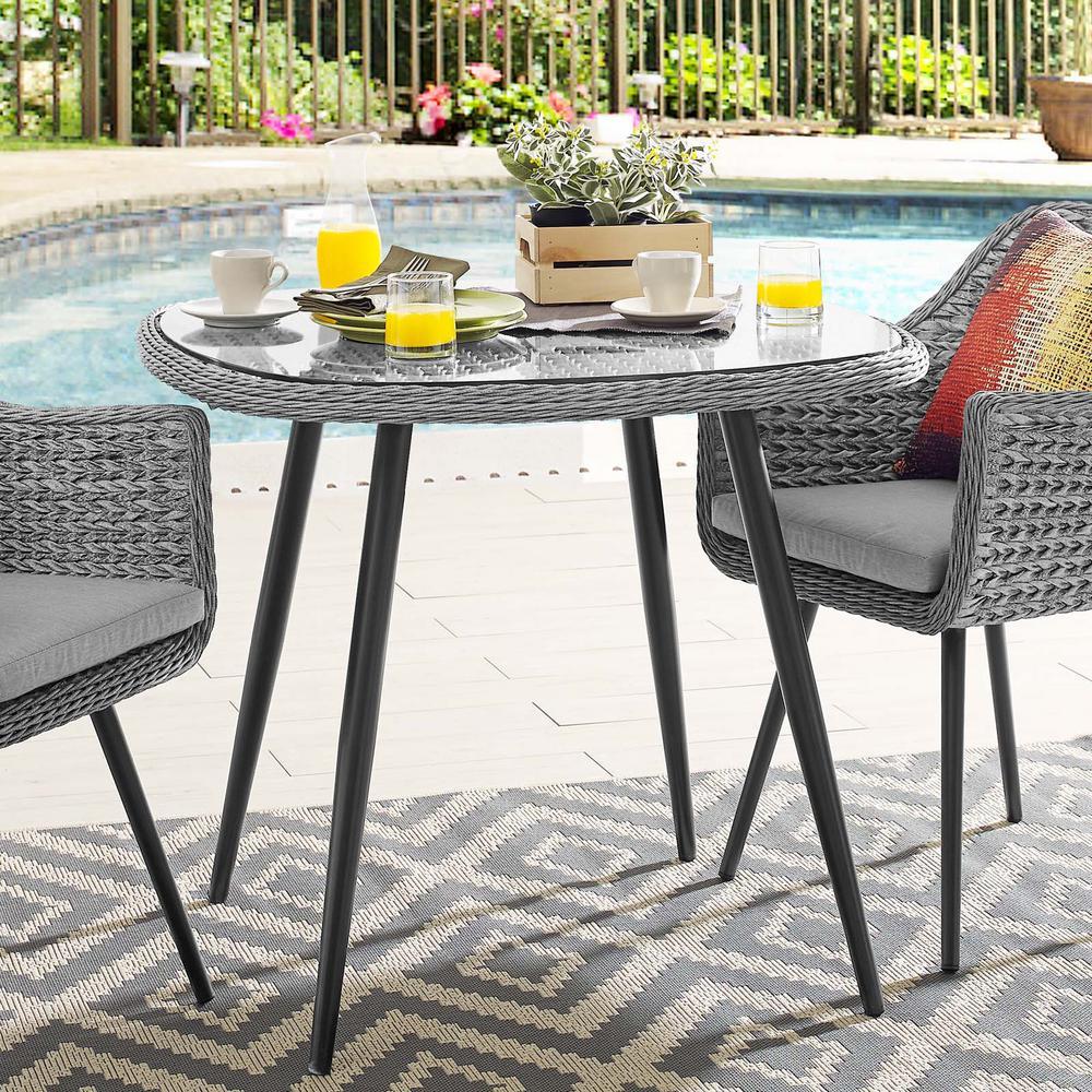 Endeavor 36 in. Wicker Outdoor Dining Table in Gray