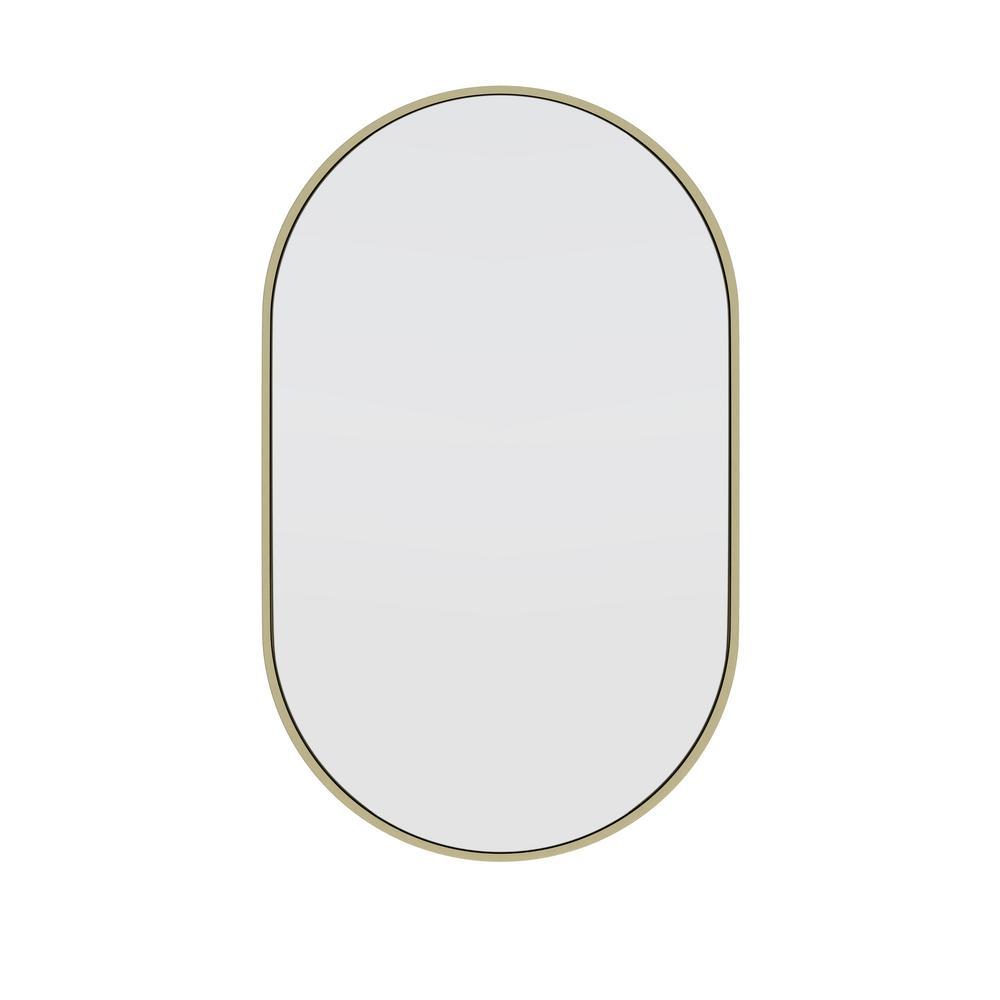 22 in. W x 36 in. H Framed Oval Bathroom Vanity Mirror in Satin Brass