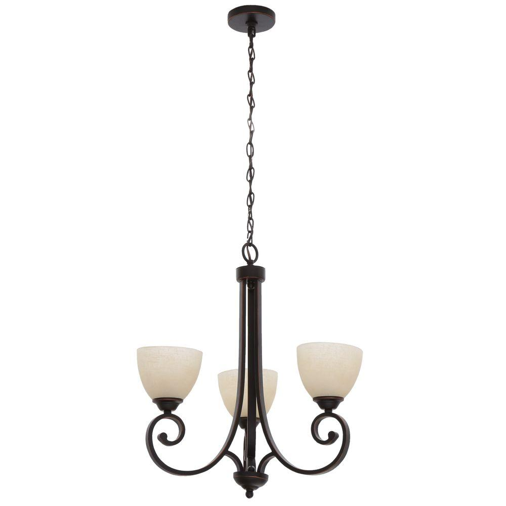 Renae 3-Light Oil Rubbed Bronze Chandelier with Amber Glass Shades