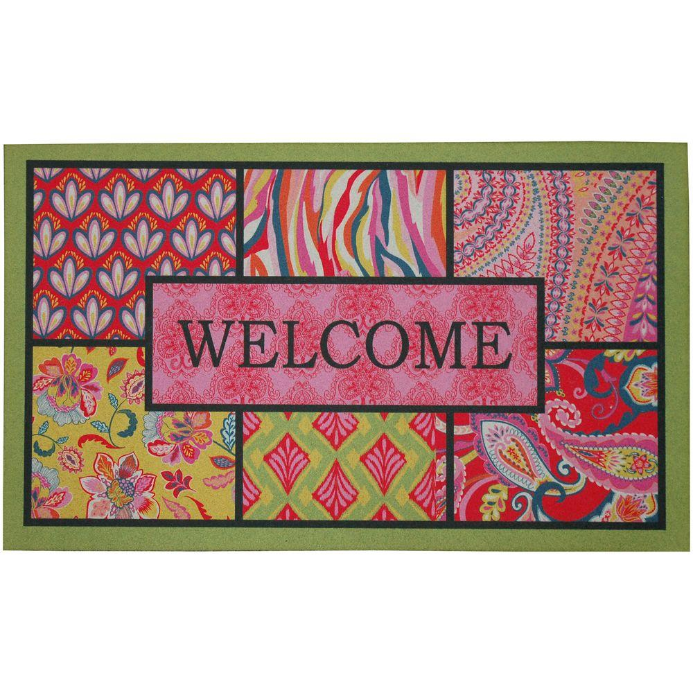 Mohawk Home 18 in. x 30 in. Bohemian Welcome Recycled Rubber Door Mat