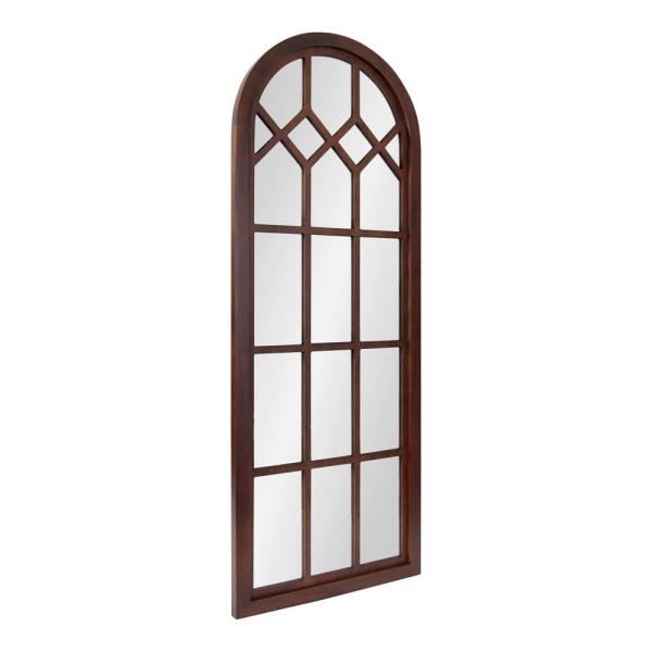 Gilcrest 47 in. x 18 in. Classic Arch Framed Walnut Brown Wall Accent Mirror