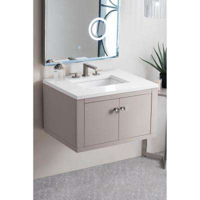 Silverlake 30 in. Single Bath Vanity in Mountain Mist with Quartz Vanity Top in Classic White with White Basin