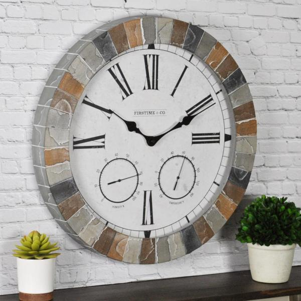 18 in. Garden Stone Outdoor Clock