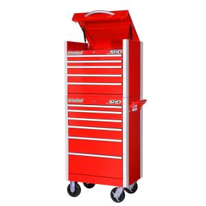 International SHD Series 27 inch 11-Drawer Tool Chest and Cabinet Combo in Red by International