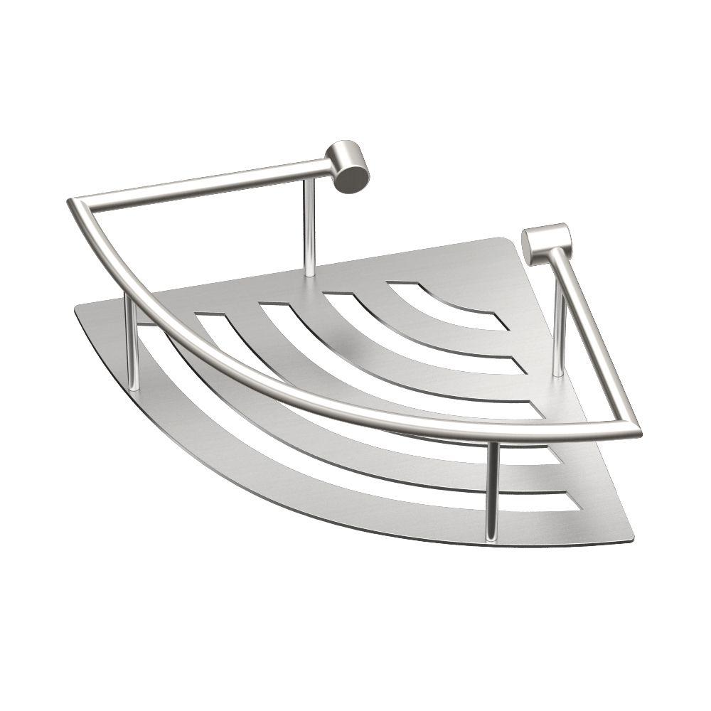 11 in. W Elegant Corner Shelf in Brushed Nickel
