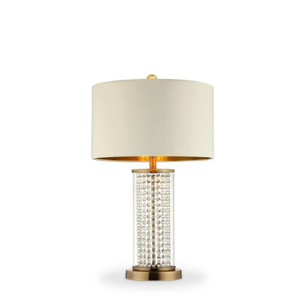 28.75 in. Gold Table Lamp with Pluviam Crystal