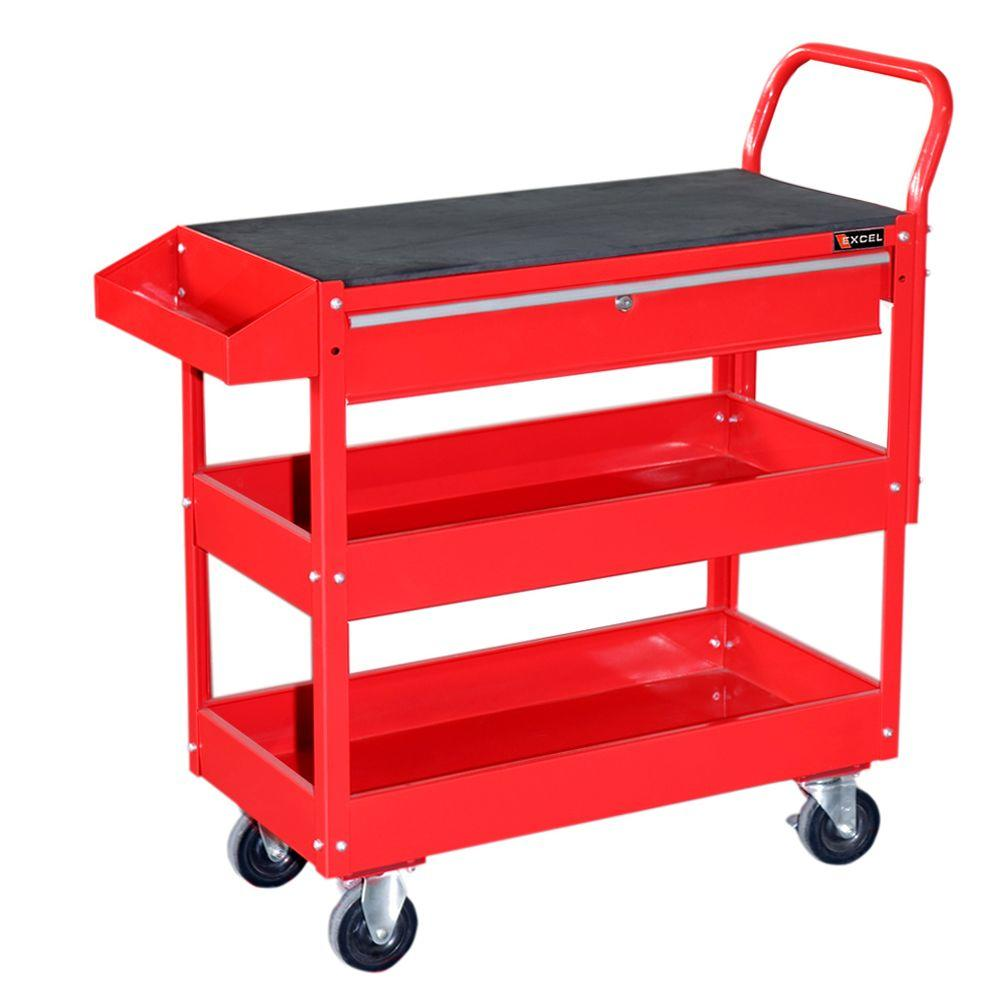Steel Tool Cart, Red, 36.8in. W x 15.6in. D x 37.6in.
