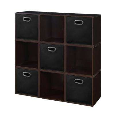 Cubo 39 in. H x 39 in. W Truffle/Black 9-Cube and 5-Bin Organizer