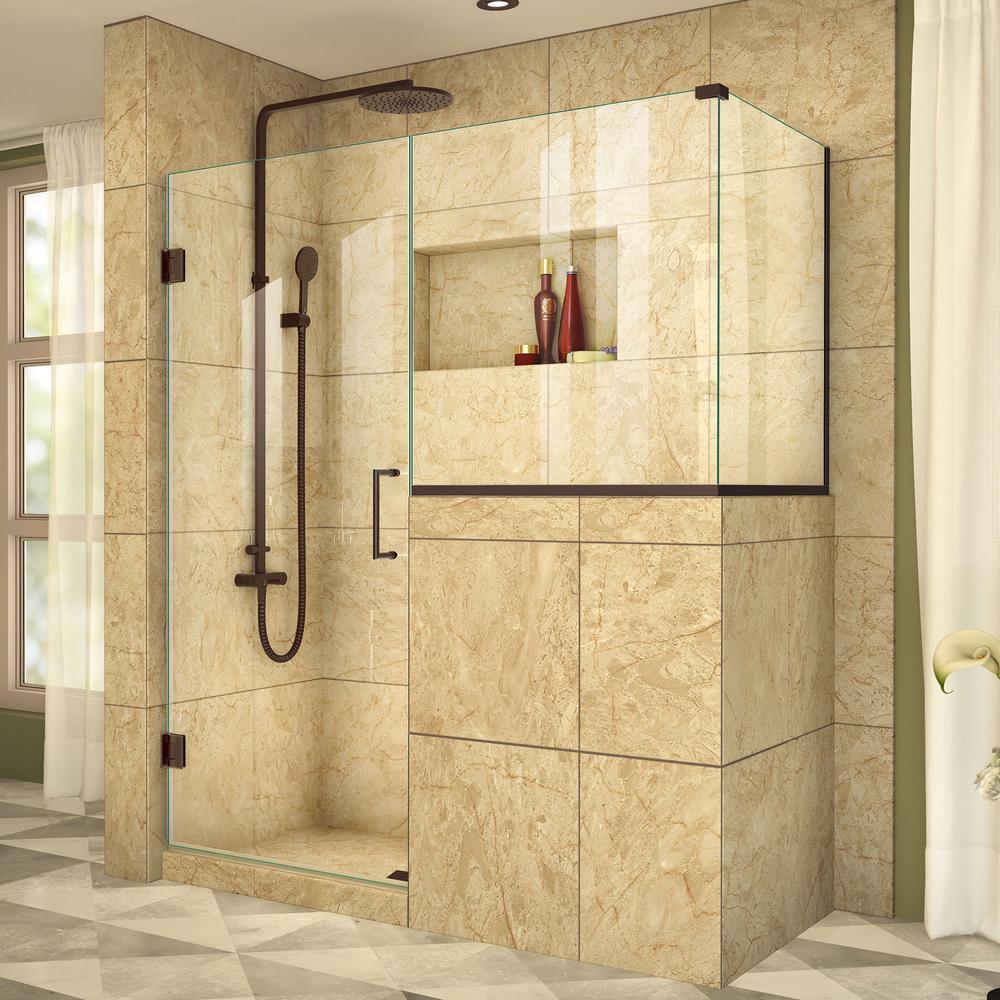 DreamLine Unidoor Plus 40-3/8 in. x 57 in. x 72 in. Frameless Corner Pivot Shower Enclosure in Oil Rubbed Bronze