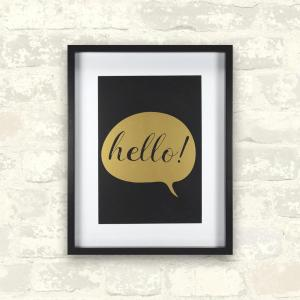 Linden Ave 11 inch x 14 inch Hello - Gold 1-Piece Framed Artwork with Mat and Metallic Screenprint by Linden Ave