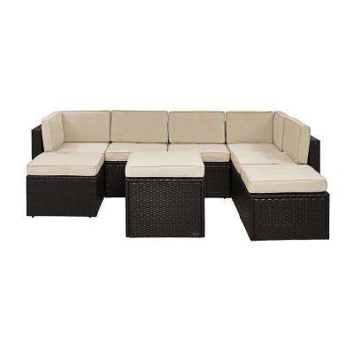 Palm Harbor 8-Piece Wicker Outdoor Sectional Set with Sand Cushions