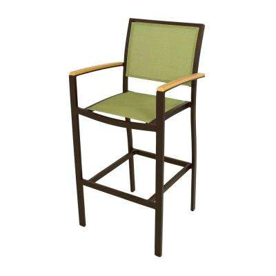 Bayline Textured Bronze/Plastique/Kiwi Sling Patio Bar Arm Chair