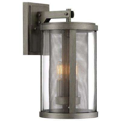 Radian Collection 3-Light Painted Brushed Nickel Outdoor Wall Mount Lantern with Clear Glass
