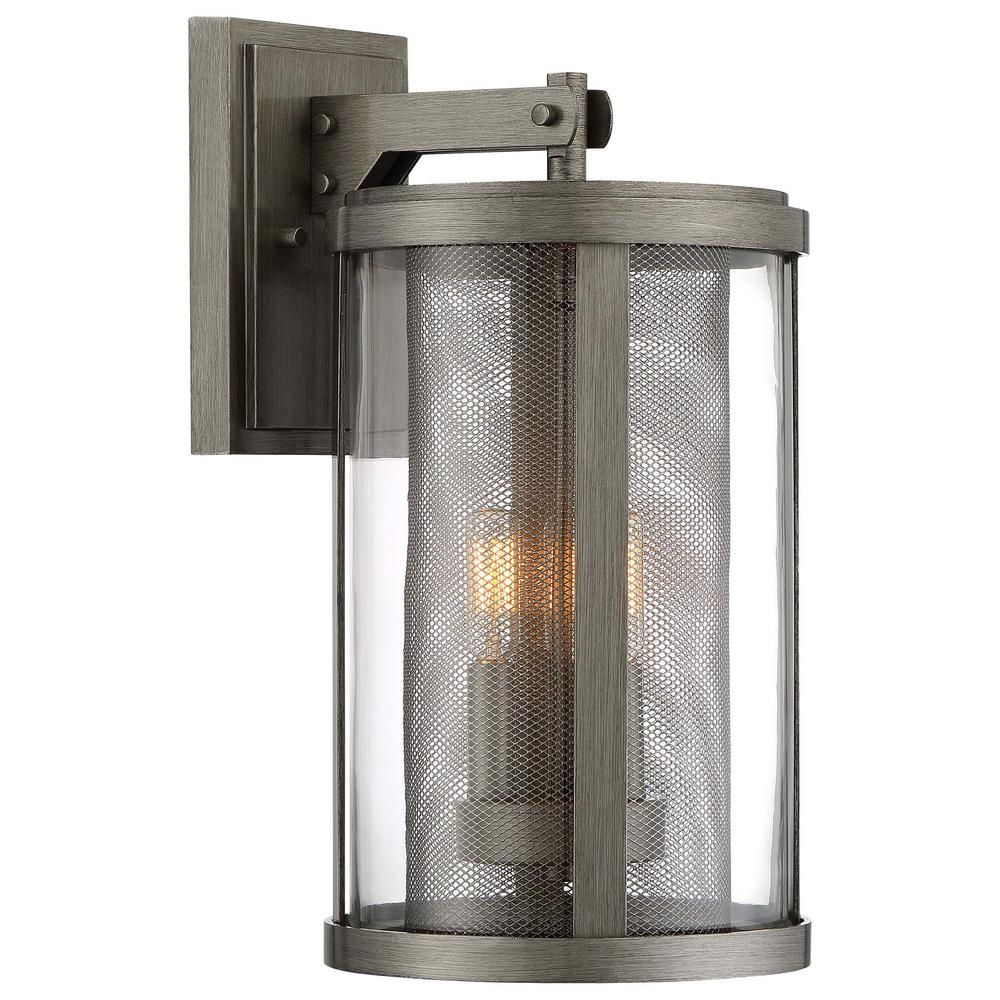 the great outdoors by Minka Lavery Radian Collection 3-Light Painted Brushed Nickel Outdoor Wall Lantern Sconce with Clear Glass