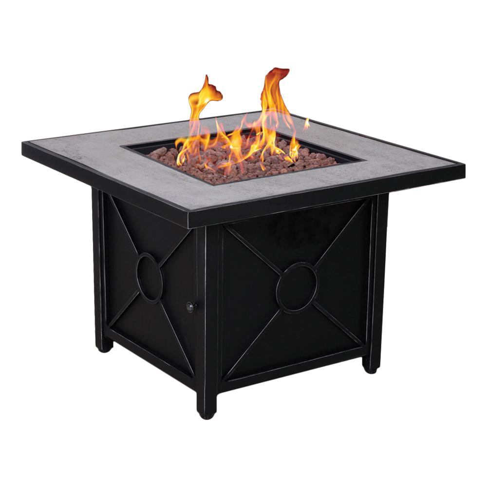 Afterglow Colton 34.5 in. Steel Fire Pit in Textured Black Finish