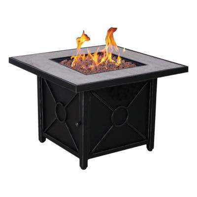 Colton 34.5 in. Steel Fire Pit in Textured Black Finish
