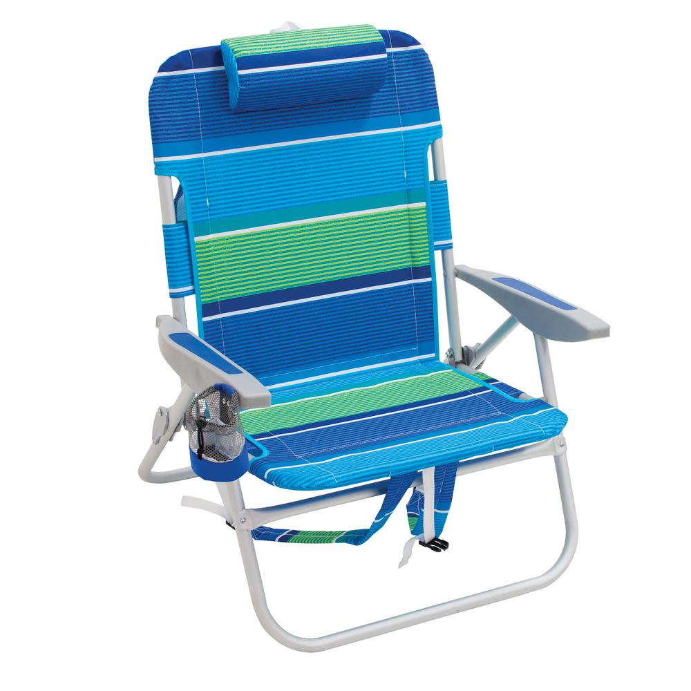 Rio Guy Aluminum Backpack Beach Chair With Pillow Cupholder And Storage