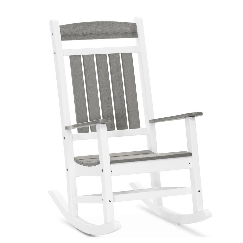 DUROGREEN Classic Rocker White and Driftwood Gray Plastic Outdoor Rocking Chair