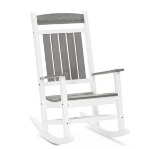 Classic Rocker White and Driftwood Gray Plastic Outdoor Rocking Chair