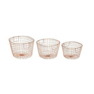 Farmhouse Brass Gold Decorative Oval Wire Baskets Set Of 3