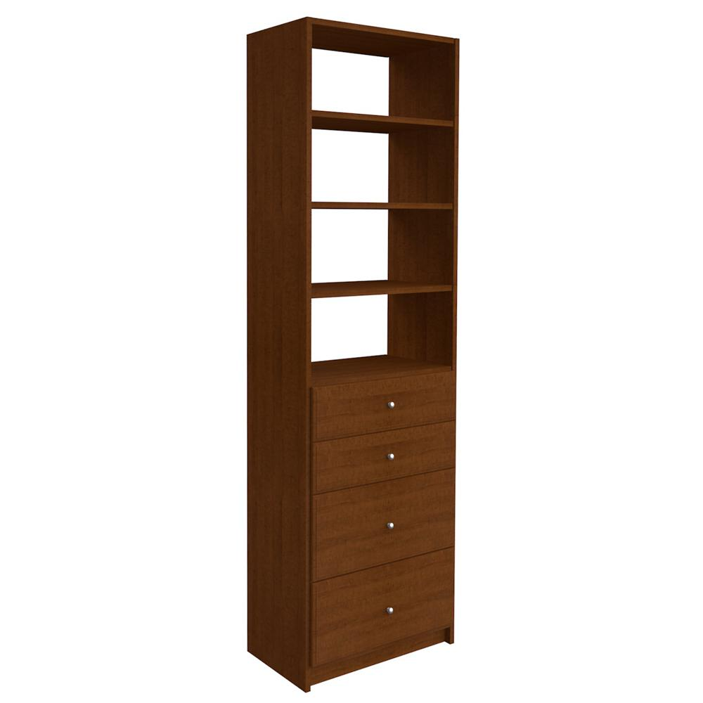 SimplyNeu 84 in. H x 24 in. W Cognac Cherry Drawer and Shelving Tower Kit