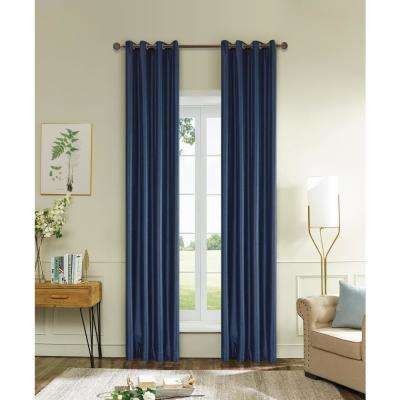 Aberdeen 54 in. L x 45 in. W Max Blackout Thermal Coating Polyester Curtain in Navy Blue