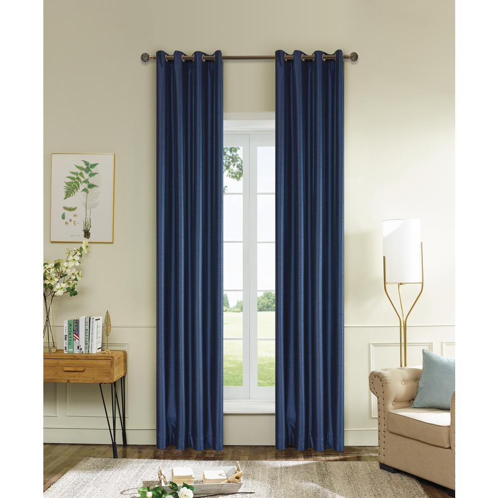 Lyndale Decor Aberdeen Max Blackout Thermal Coating Polyester Curtain In Navy  Blue   120 In.