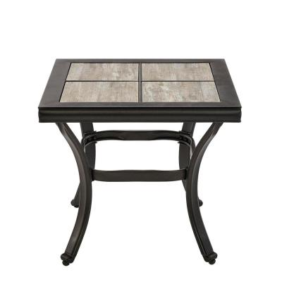 Crestridge Steel Outdoor Patio Side Table with Tile Top