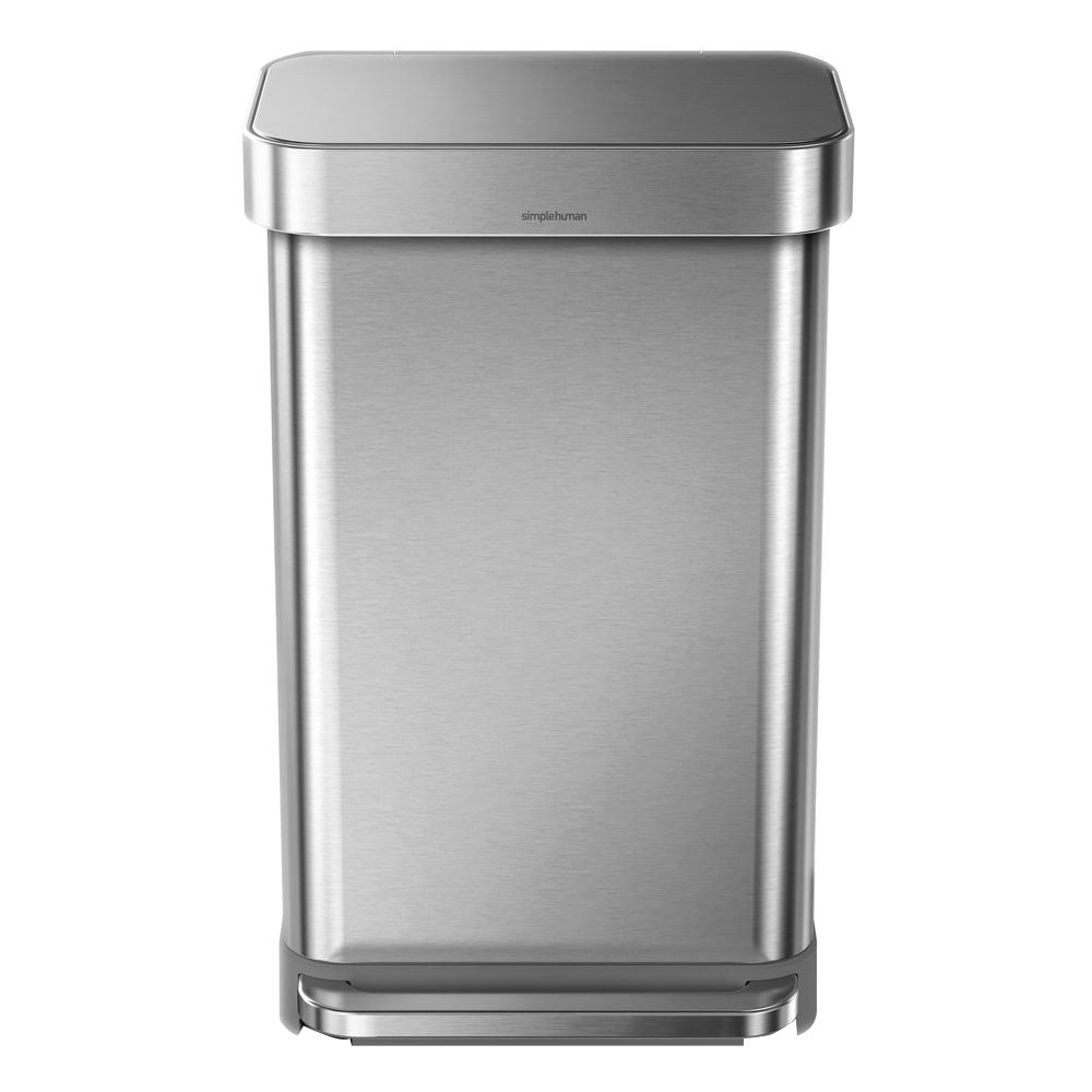 45-Liter Nano-Silver Clear Coat Brushed Stainless Steel Rectangular Liner Rim