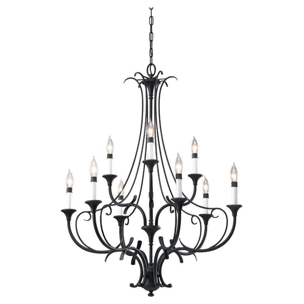 Black chandeliers lighting the home depot peyton 9 light black chandelier aloadofball Image collections