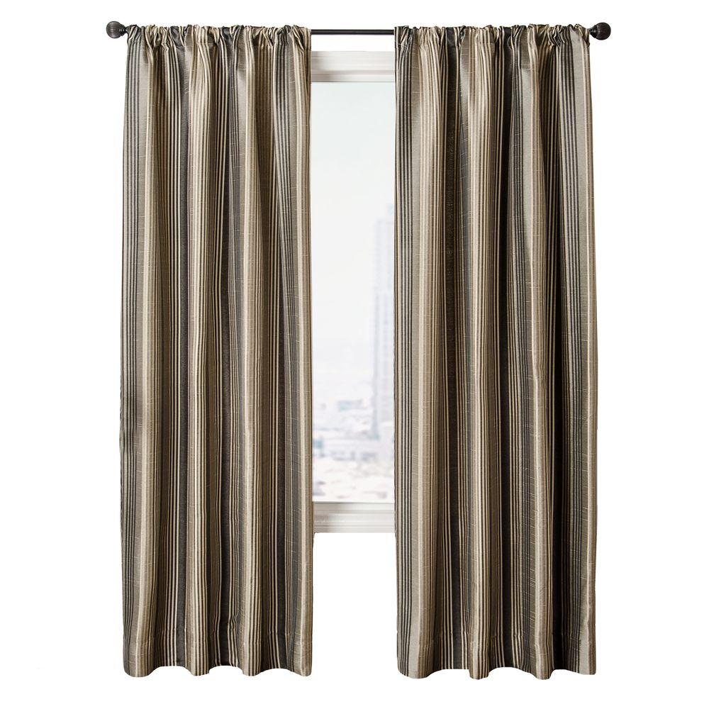Home Decorators Collection Sheer Pewter Cavalli Stripe Rod Pocket Curtain - 54 in.W x 84 in. L