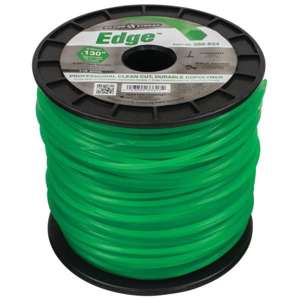 New Edge Trimmer Line for Approximate Length 435 ft., Color Green, Diameter 0.130 in., Shape Hex, Size 3 lbs.