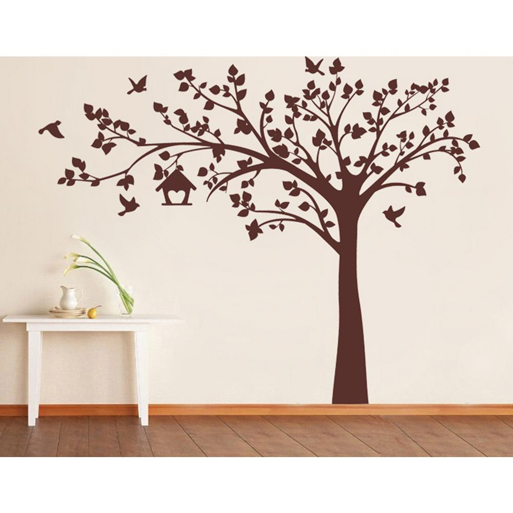d7d1b69cb1 Big Tree with Love Birds Tree Removable Wall Decal PT-0116-1-Vg - The Home  Depot