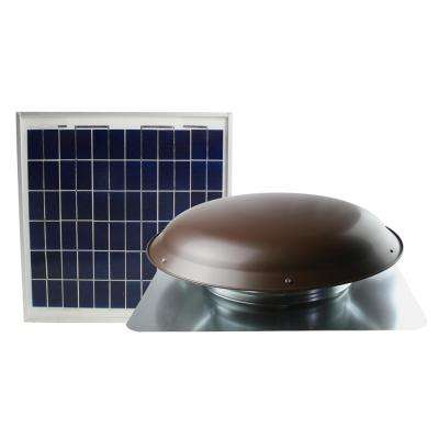 433 CFM Brown Solar Powered Roof Attic Fan with Roof-Mounted Solar Panel