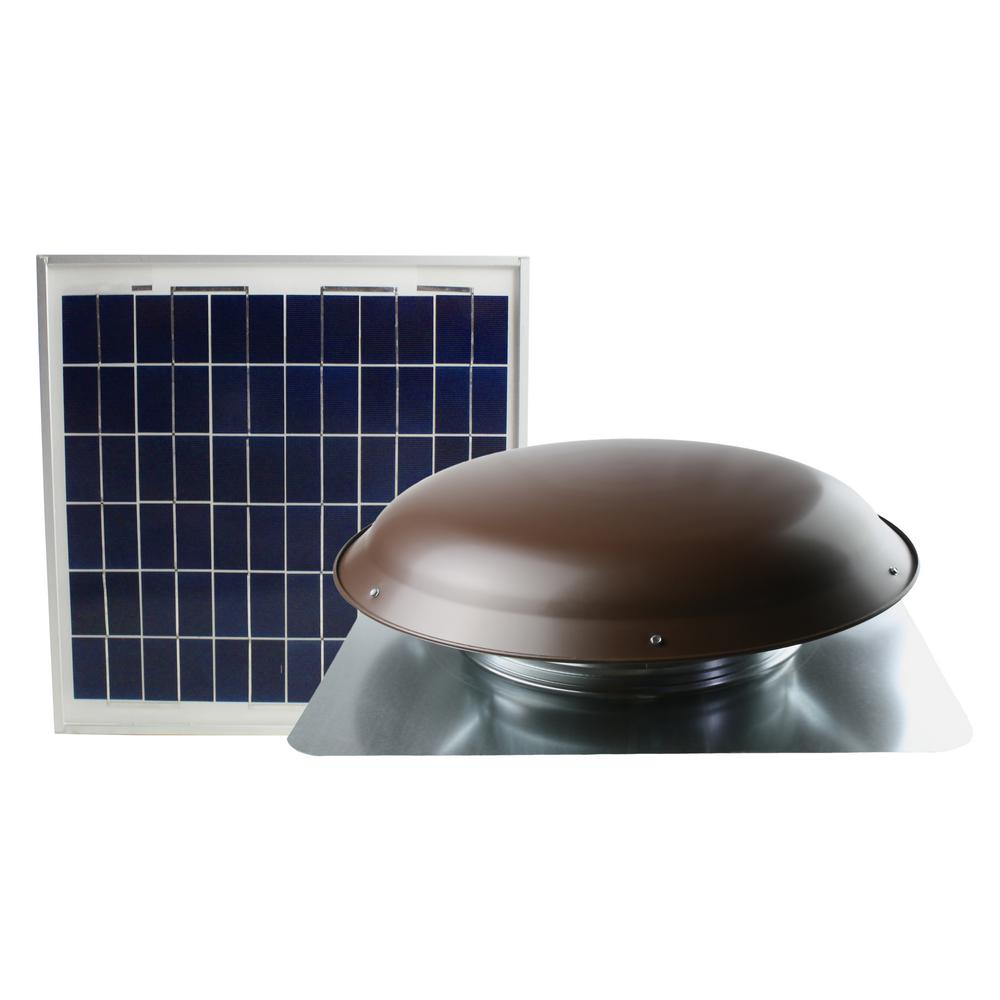 1000 CFM Brown Solar Powered Roof Attic Fan with Roof-Mou...